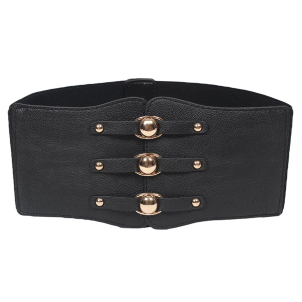 Ladies Faux Leather Wide Band Elastic Cinch Waist Belt Waistband Black CC2007